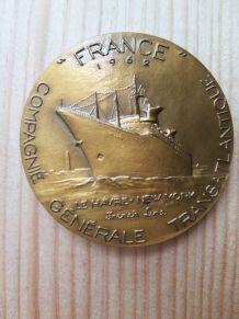 médaille ancienne bronze paquebot Le FRANCE 1962 Coeffin