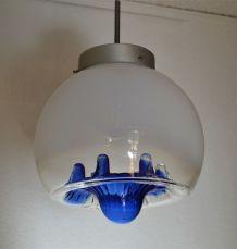 Suspension globe en verre soufflé - vintage 1970s