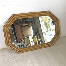 Miroir en rotin vintage 60's