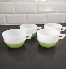 Lot de 4 tasses à café Arcopal blanc et vert