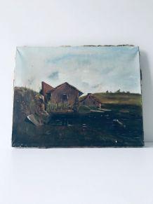 Peinture sur toile 1900, paysage d'alpage