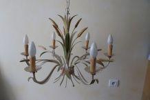 Lustre 6 ampoules en métal effet fleurs et blés