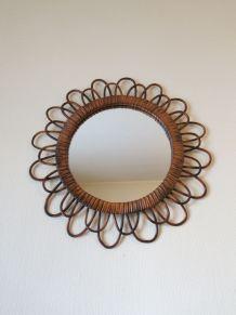 Miroir soleil rond rotin vintage 60s 70s