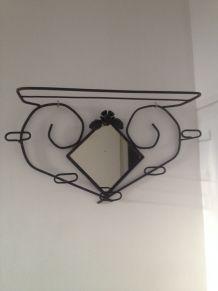Miroir art déco décor floral, cadre métal noir 36 cm x 85 cm