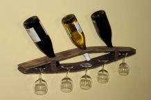Support verres et bouteilles à partir de tonneaux recyclés.
