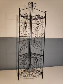 porte-plantes pliable métal vintage étagère d'angle