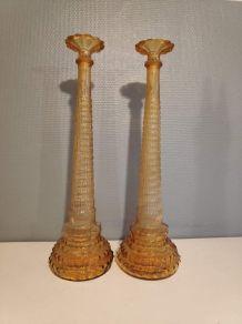 paire de carafes couleur ambrée