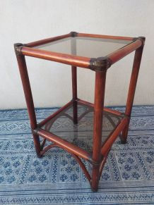 Table d'appoint rotin bambou années 70 vintage