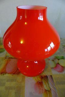 Lampe de table vintage 70's opaline rouge orangé Tchèque OPP