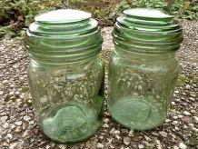 2 bocaux  en verre  , vintage DURFOR