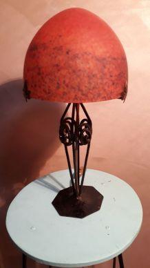 Grande Lampe Pâte de Verre ,Muller Fre