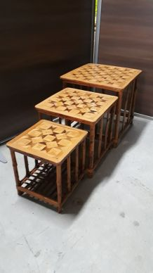 tables gigogne bamboo tigre ,marqueterie
