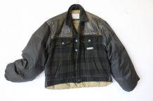 Doudoune Chevignon L  vintage 90 laine tartan plume cuir