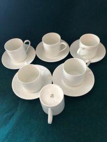Ensemble 5 tasses et soucoupes à café Porcelaine de Limoges