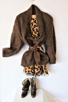 Gilet mohair vintage 80 manteau laine mohair marron