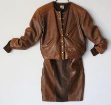 Blouson cuir 40 vintage 80 marron patiné  loose veste courte