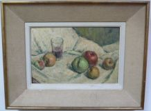 Nature morte, huile sur toile, Rotge Prosper 59 x 44,5 cm