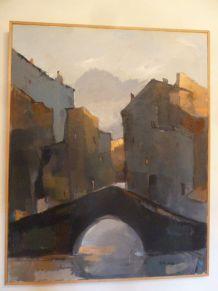 """Huile sur toile """"Pont à Venise"""" 75 cm x 94 cm"""