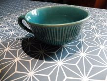 Tasse ancienne Gien beue turquoise