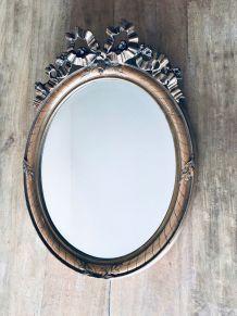 Miroir ovale 1900 biseauté à noeud