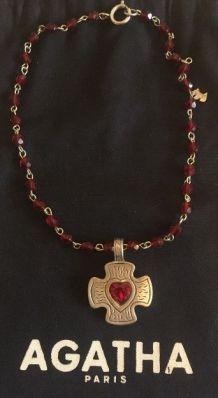 Pendentif et collier Agatha vintage