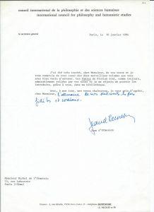 Lettre autographe signée de Jean d'Ormesson 1984