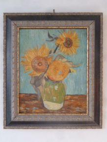 Huile sur toile, copie des Tournesols de Van Gogh, 60,5 x 70