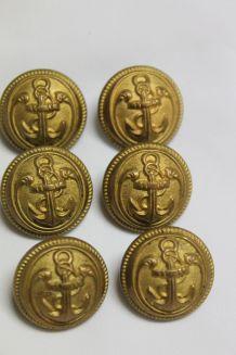 lot de 6 boutons ancien 20 mm M. Bourdon uniforme marin