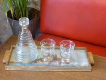 Service a liqueur vintage 1950, carafe, verres, plateau