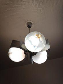 lustre 3 globes en verre de Murano blancs et orange