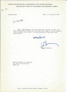 Lettre autographe signée de Jean d'Ormesson 1983