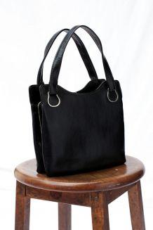Mini sac vernis noir 60's fermoir porte monnaie