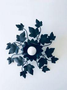Applique murale ou plafonnier feuille mis en métal noir