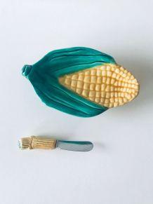 Ensemble beurrier et couteau épi de maïs, céramique barbotin