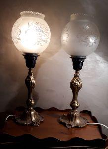 duo de lampes pied en bronze 1970