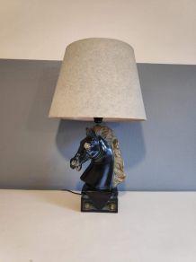 lampe tête de cheval en plâtre et abat-jour gris bleu