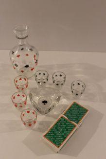 Service à liqueur vintage jeu de cartes