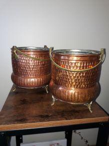 Duo de chaudrons en cuivre  - Cache-pot - Déco - Vide poche