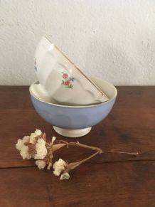 Deux bols assortis en bleu lavande et fleurs.