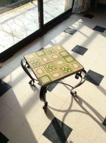 TABLE FER FORGÉ et CÉRAMIQUES