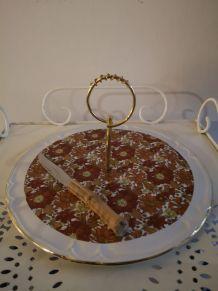 Plateau à fromages vintage fleuri poignée et contour doré