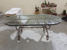 Table ovale fer+ verre