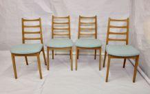 Set de 4 chaises scandinave année 50 restaurées tissu éditio