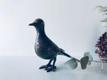 Faisane ancienne en métal argenté, oiseau décoratif argenté
