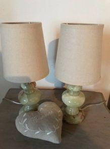 Lampes de Chevet année 1960 en onyx marbré