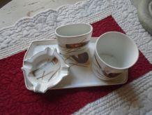 Ensemble de fumeur en porcelaine vintage