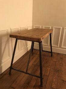 Table pliante établi industriel en bois
