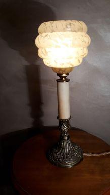 lampe calice sur pied bronze verre clichy