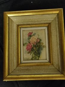 Tableau fleurs en tissu