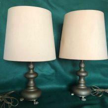 """Paire de lampes """"pattes de lion"""" en bronze brossé, Vintage"""
